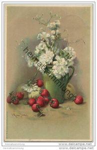 Blumen & Obst - Nelken - Erdbeeren - Prägedruck - Künstlerkarte signiert CK von Sievers