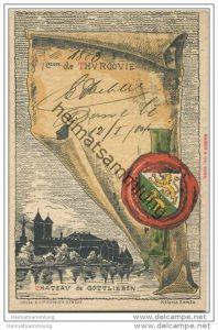 Thurgau - Künstlerkarte von Helène Hantz - Canton de Thurgovie - mit der Silouette von Chateau de Gottlieben