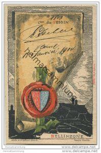 Tessin - Künstlerkarte von Helène Hantz - Canton du Tessin - mit der Silouette von Bellinzone