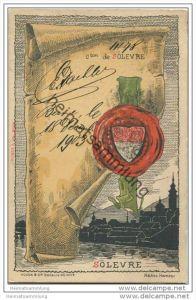 Künstlerkarte von Helène Hantz - Canton de Solevre mit der Silouette von Solevre
