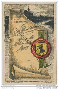 Schaffhausen - Künstlerkarte von Helène Hantz - Canton de Schaffhouse mit der Silouette von Schaffhouse