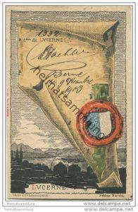 Luzern - Künstlerkarte von Helène Hantz - Canton de Lucerne - mit der Silouette von Lucerne
