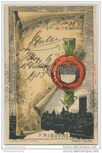 Fribourg - Künstlerkarte von Helène Hantz - Canton de Fribourg - mit der Silouette von Fribourg