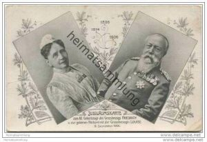 Jubiläumskarte zum 80. Geburtstage des Grossherzogs Friedrich und zur goldenen Hochzeit mit der Grossherzogin Luise 1906