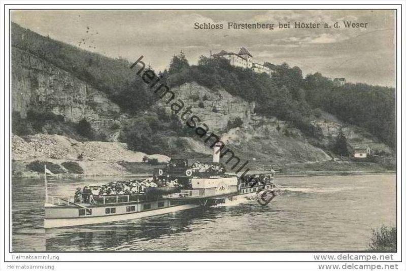 Höxter - Schloss Fürstenberg an der Weser - Passagierdampfer