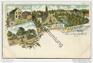 Gruss aus Asendorf - Woll-Schnitt und Materialwaren-Geschäft - Anger von der Kirche gesehen - Kirche