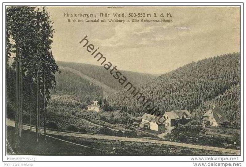 Finsterbergen - Blick ins Leinatal mit Waldburg und Villa Schwarzwaldhaus