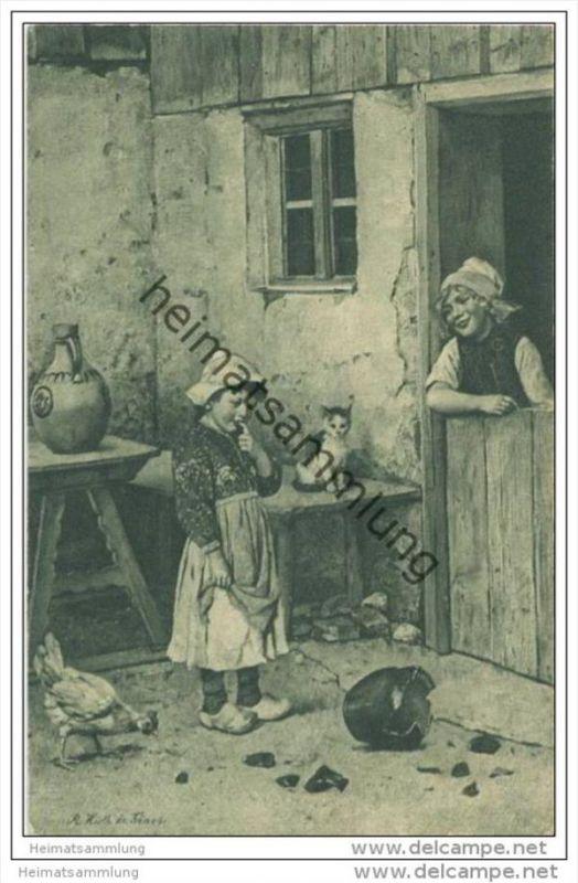 Der zerbrochene Krug - signiert Rudolf Hirth du Frênes - Mädchen - Katze - Huhn