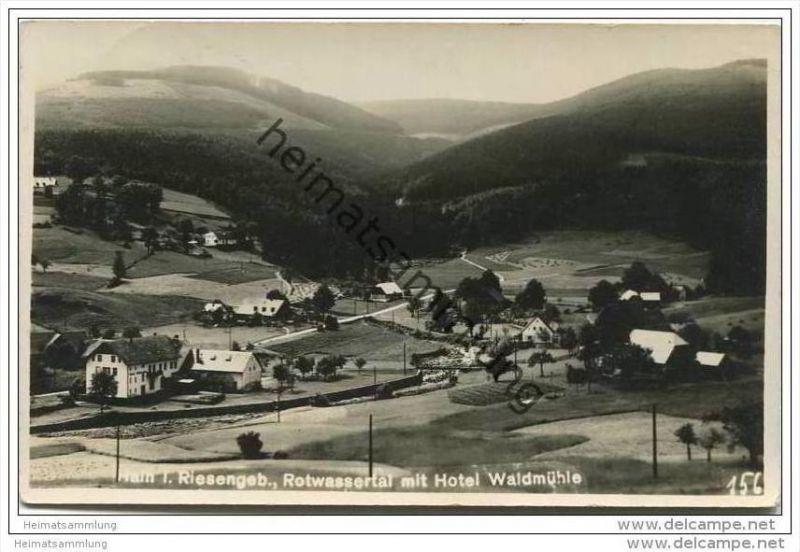 Hain im Riesengebirge - Przesieka - Rotwassertal - Hotel Waldmühle - Foto-AK