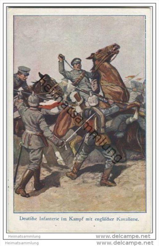Wohlfahrts-Postkarte - Zum Besten des Deutschen Heeres - Deutsche Infanterie im Kampf mit englischer Kavallerie - Feldpo