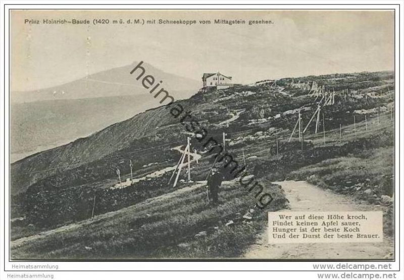 Prinz-Heinrich-Baude mit Schneekoppe vom Mittagstein gesehen 1913