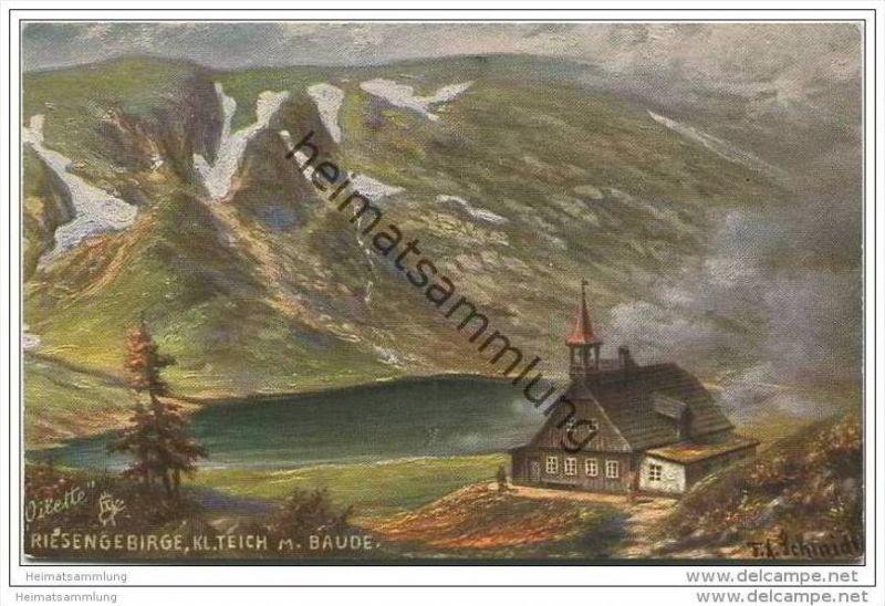 Riesengebirge - Kleiner Teich mit Baude ca.1920 - Oilette