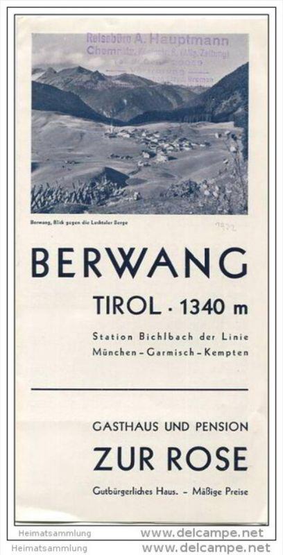 Berwang Tirol 1932 - Gasthaus und Pension Zur Rose - Faltblatt mit 4 Abbildungen