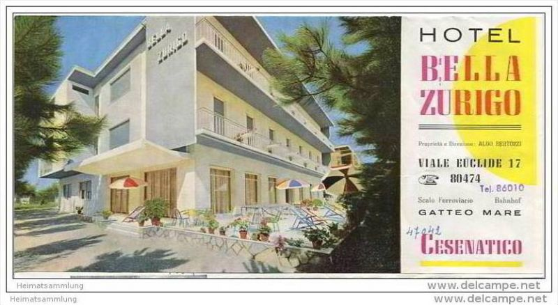 Cesenatico - Hotel Bella Zurigo Besitzer Aldo Bertozzi - Faltblatt mit 5 Abbildungen