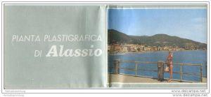 Alassio 1963 - Faltblatt mit 3 Abbildungen - grosser Übersichtsplan signiert pierovado - Stadtplan - Hotelverzeichnis