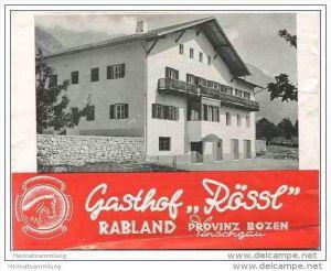 Rabland 60er Jahre - Gasthof Rössl Besitzer Familie Kuppelwieser - Faltblatt mit 4 Abbildungen