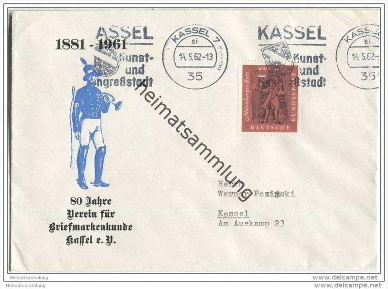 Brief mit 7 Pfg. Nürnberger Bote - gelaufen 1962 nach Kassel - Sonderumschlag 80 Jahre Verein für Briefmarkenkunde