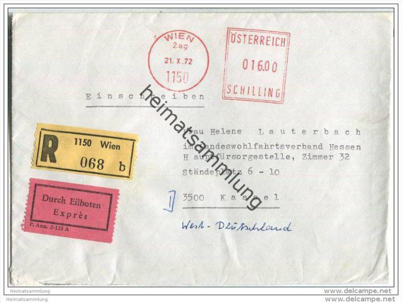 Einschreibe-Brief mit Eilboten - Freistempel 016.00 Schilling - gelaufen 1972 von Wien nach Kassel - Durchgangstempel
