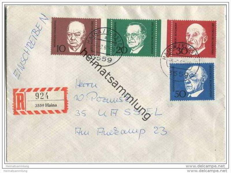 Einschreibe-Brief mit Marken der Blockausgabe zum 1. Todestag von Konrad Adenauer - gelaufen 1969 von Haina nach Kassel