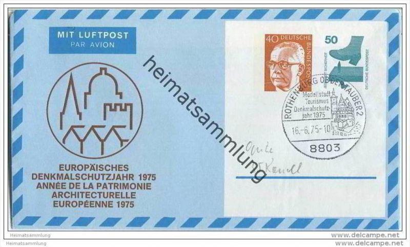 Privatganzsache Bund Luftpostleichtbrief - Privatfaltbrief PF9 - Europäisches Denkmalschutzjahr 1975 - gestempelt 1975