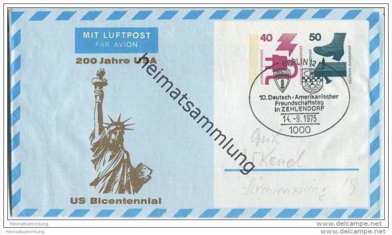 Privatganzsache Bund Luftpostleichtbrief - Privatfaltbrief PF10/2 - 200 Jahre USA - gestempelt 1975