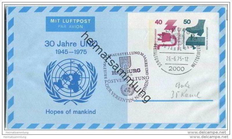 Privatganzsache Bund Luftpostleichtbrief - Privatfaltbrief PF10/1 - 30 Jahre UNO- gestempelt 1975