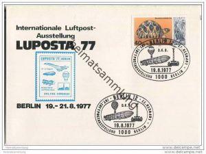 Postkarte Berlin - LUPOSTA 77 - Das lenkbare Luftschiff Graf Zeppelin - Doppelkarte - Sonderstempel 1977