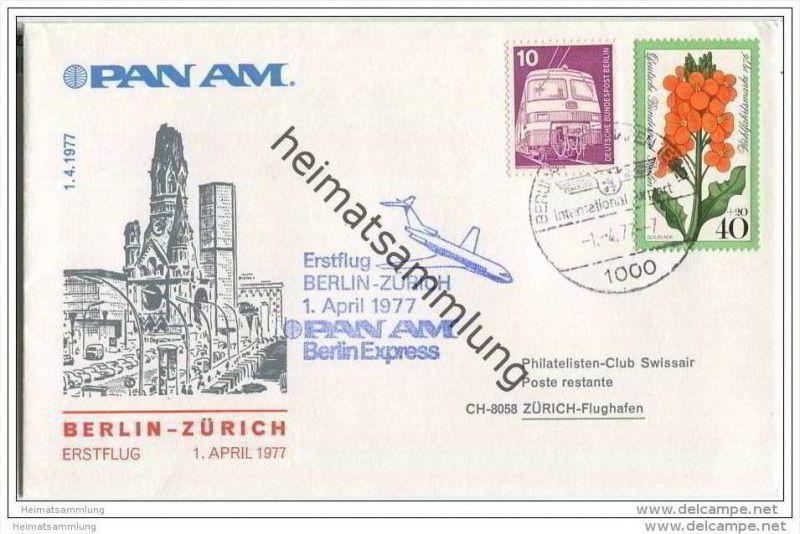 Brief Berlin - PAN AM - Erstflug Berlin-Zürich - Sonderstempel 1.4.1977
