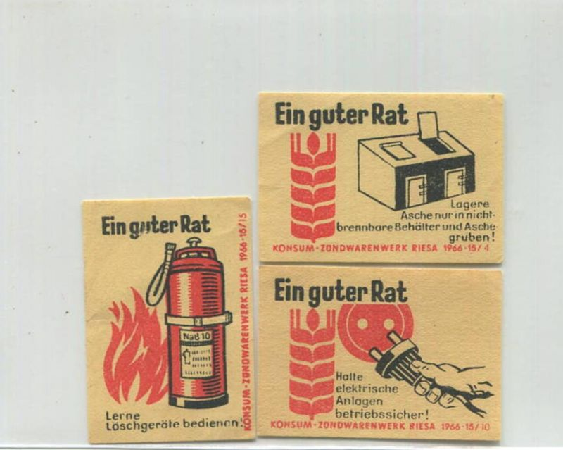 Riesa - Konsum Zündwarenwerk 1966 - Ein guter Rat - 3 Kärtchen 3,5cm x 5cm