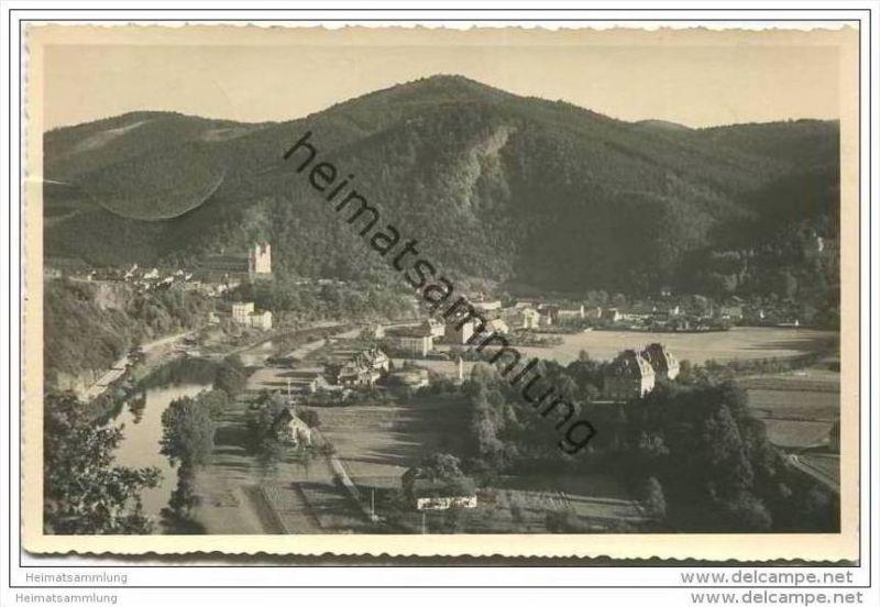 Wartha Bez. Breslau - Blick auf Wallfahrtskirche und Bergsturz - Foto-AK