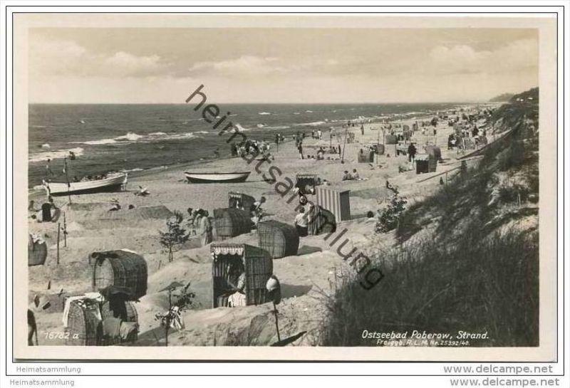 Poberow - Kr. Cammin - Strand - Foto-AK 40er Jahre