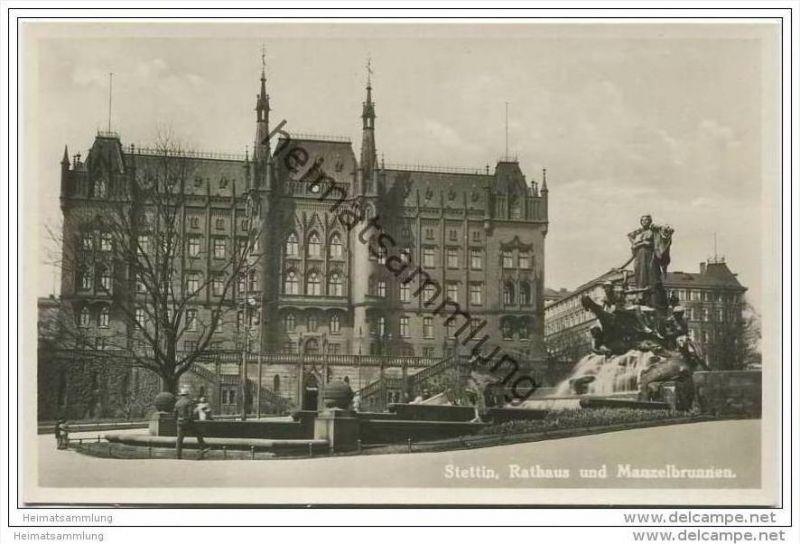 Stettin - Rathaus und Manzelbrunnen - Foto-AK 30er Jahre