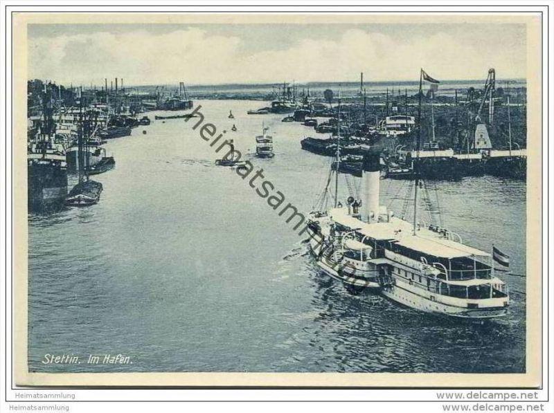 Stettin - Im Hafen - AK-Grossformat 30er Jahre