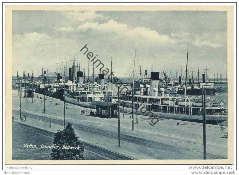 Stettin - Dampfer Bollwerk - AK-Grossformat 30er Jahre