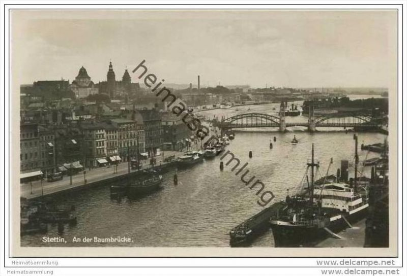 Stettin - An der Baumbrücke - Foto-AK 30er Jahre