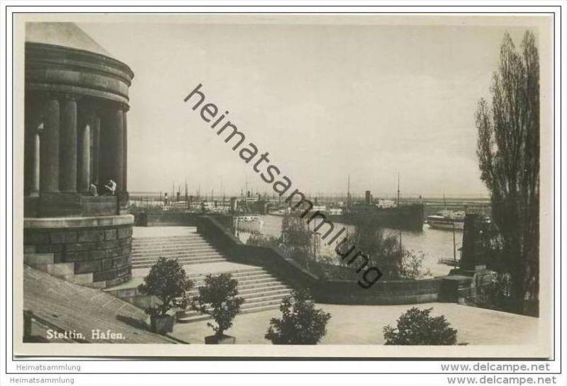 Stettin - Hafen - Foto-AK 30er Jahre
