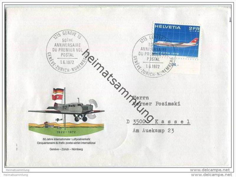 Brief Schweiz - 50 Jahre Internationaler Luftpostverkehr - Geneve-Zürich-Nürnberg - 1. Juni 1972