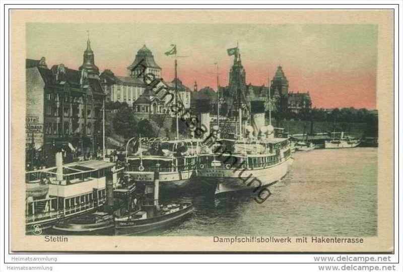 Stettin - Dampfschiffsbollwerk mit Hakenterrasse 20er Jahre
