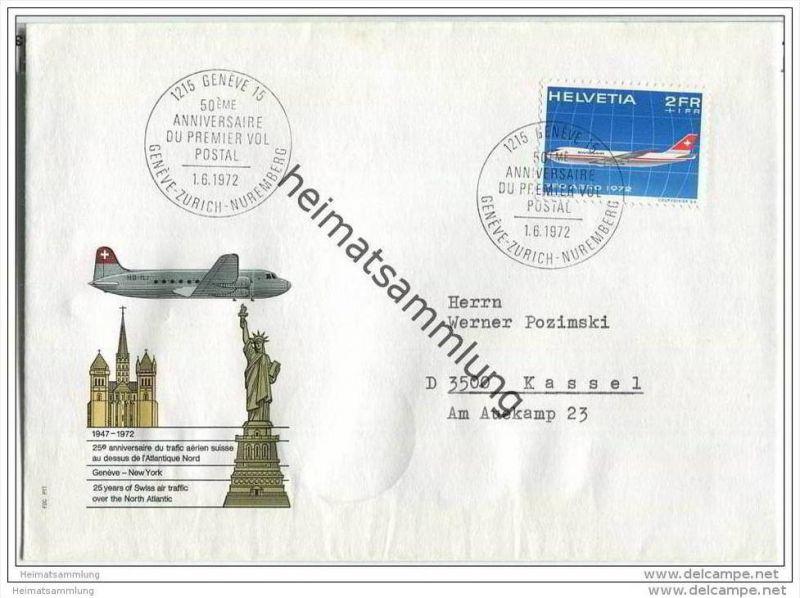 Brief Schweiz - 25 years of Swiss air traffic over the North Atlantic - 1. Juni 1972