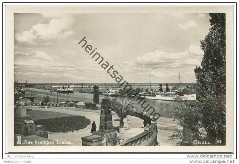 Stettin - Blick von der Hakenterrasse auf die Oder - Foto-AK 30er Jahre
