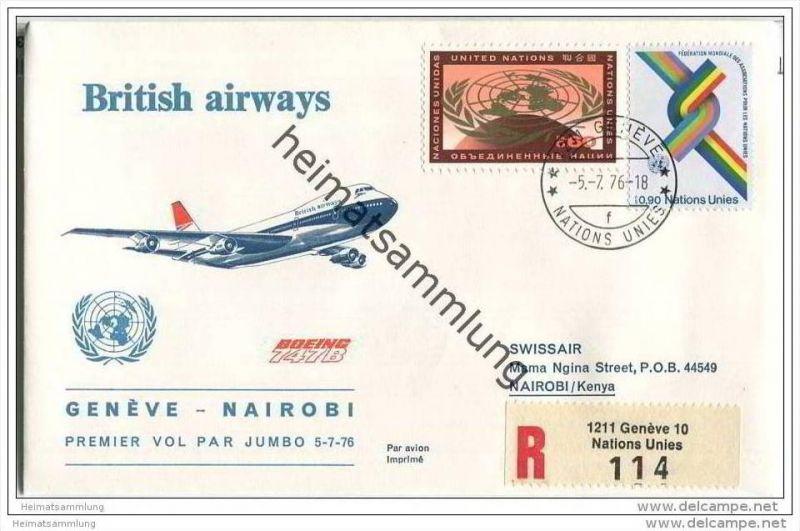 Brief United Nations - British airways - Premier vol par Jumbo Geneve-Nairobi- 5. Juli 1976