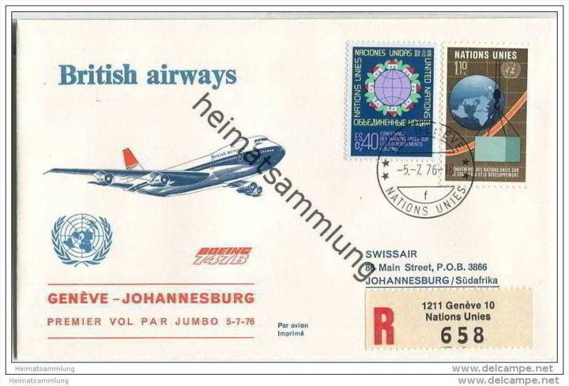 Brief United Nations - British airways - Premier vol par Jumbo Geneve-Johannesburg - 5. Juli 1976