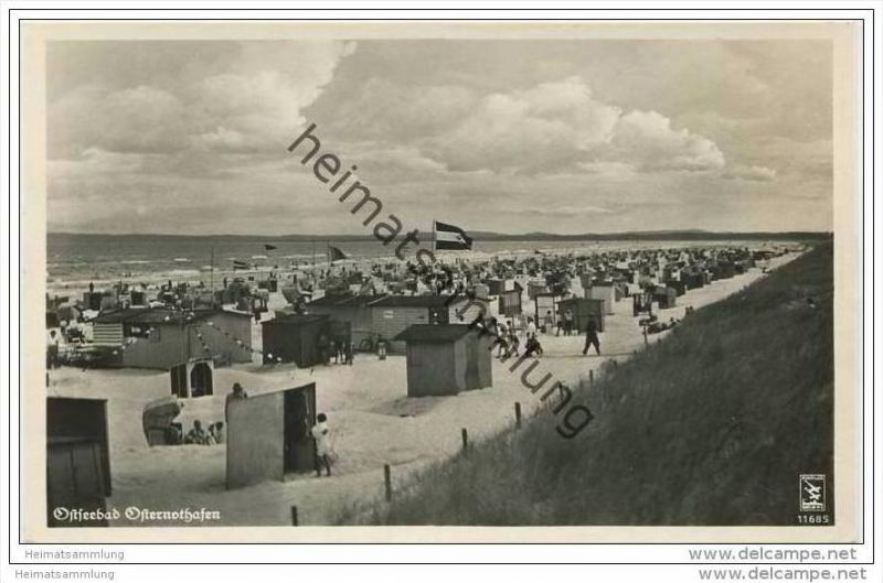 Ostseebad Osternothafen - Strand - Foto-AK 30er Jahre