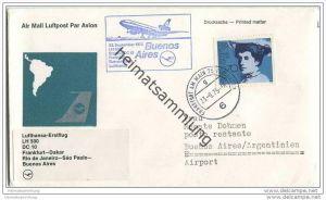 Brief Lufthansa - Erstflug LH 500 DC 10 - Frankfurt-Dakar-Rio de Janeiro-Sao Paulo-Buenos Aires - 23. September 1975
