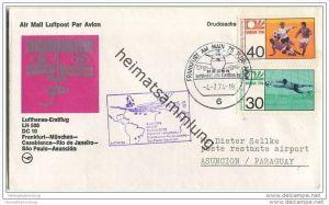 Brief Lufthansa - Erstflug LH 508 DC 10 - Frankfurt-München-Casablanca-Rio de Janeiro-Sao Paulo-Asuncion - 4. Juli 1974