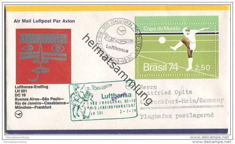 Brief Brasilien - Lufthansa-Erstflug LH 501 DC 10 - Buenos Aires-Sao Paulo-Rio de Janeiro-Casablanca-München-Frankfurt