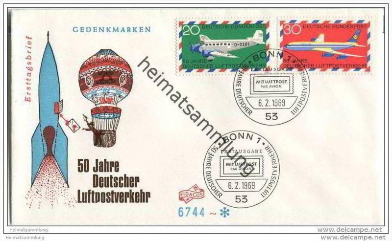 Ersttags-Brief mit Marken 50 Jahre Deutscher Luftpostverkehr - Sonderstempel 6. Februar 1969