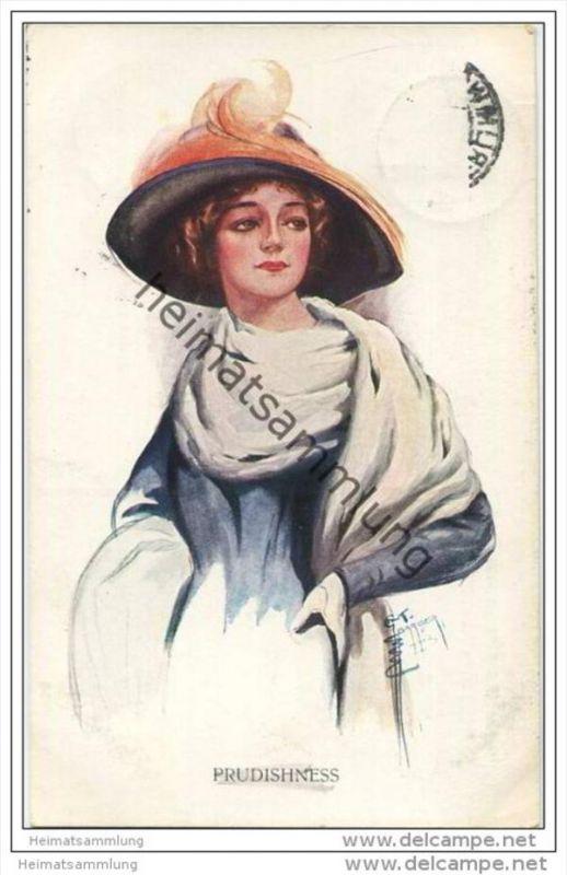 Frau mit Hut und grossem Schaal - Prudishness - signiert E. T. Barber