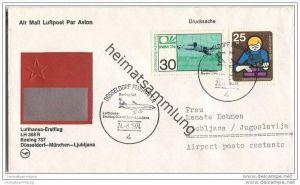 Brief Lufthansa-Erstflug LH 368 R Boeing 737 - Düsseldorf-München-Ljubljana - 24. Juni 1974