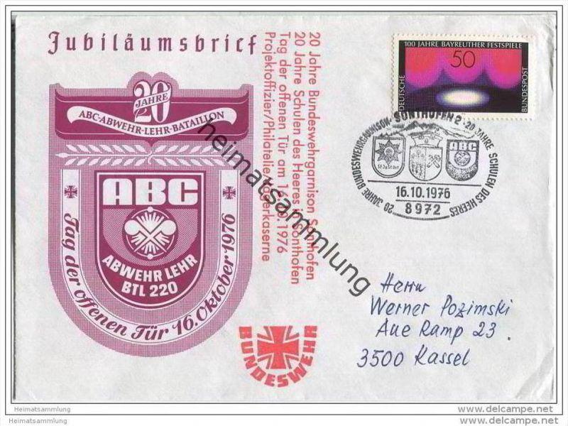 Brief Bundeswehr Garnison Sonthofen - ABC-Abwehr-Lehr-Bataillon - 16. Oktober 1976
